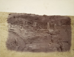North portion of the area of the Amravati Stupa excavated in 1880, seen from the east